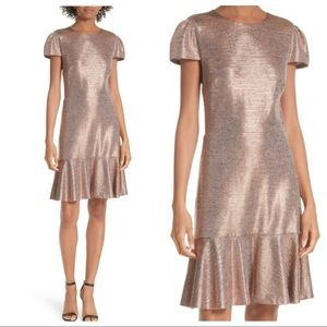 Alice + Olivia Imani metallic rose gold dress